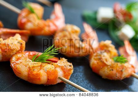 Detail Of Prawn Brochette.