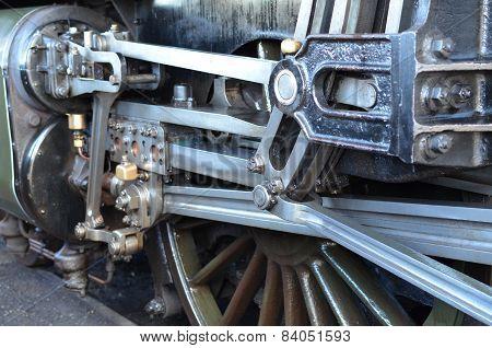 Steam train wheel.