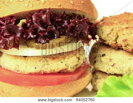 Vegan Sea Burger Closeup Background