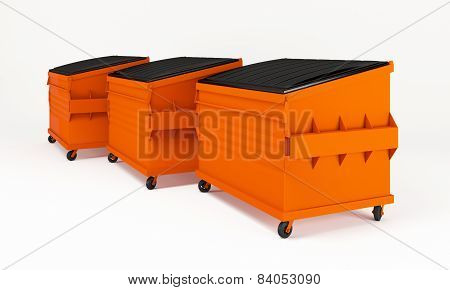 Realistic orange trash boxes.