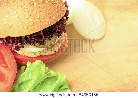 Vegan Sea Burger Closeup On Wooden Surface