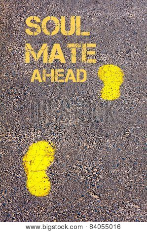 Yellow Footsteps On Sidewalk Towards Soul Mate Ahead Message