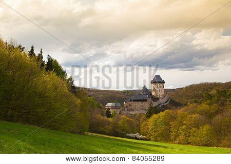 Famous Karlstejn Castle  In Autumn Forest,czech Republic