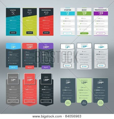 Pricing table images illustrations vectors pricing for Table flat design