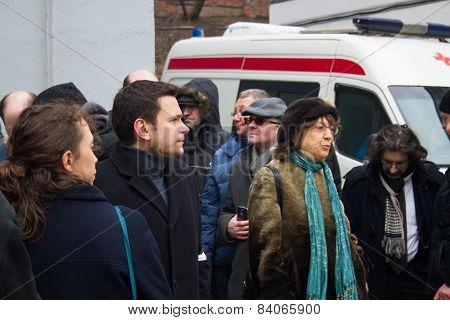 Politician Ilya Yashin At The Funeral Of Boris Nemtsov
