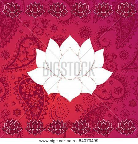 Pink lotus henna background