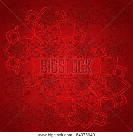Red oriental mandala background