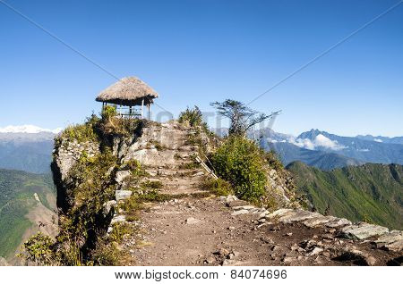 Pavillion atop of Machu Picchu Mountain peak