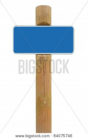Blue Metal Sign Board Signage Copy Space Background, White Frame Roadsign, Old Aged Weathered Wooden