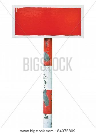 Red Hand-painted Prohibition Warning Sign Board Horizontal Metal Signage, White Frame, Copy Space