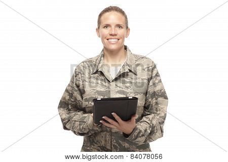 Happy Female Airman With Digital Tablet