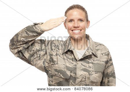 Female Airman Saluting