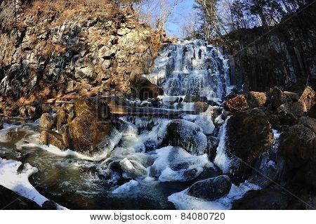Waterfall Gorbatiy In November, Primorskiy Kray, Russia