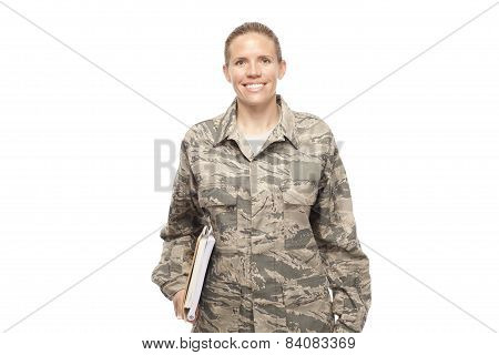 Female Airman With Books