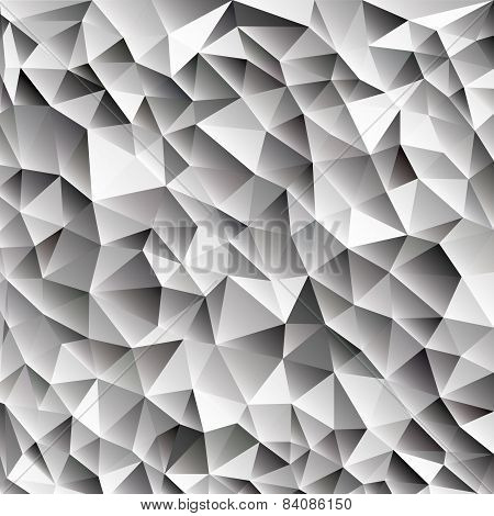 3d abstract shining ice cubes vector geometric web background, different shades of gray with triangl