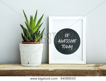 White Frame  Be Awesome Today With Succulent In Diy Concrete Pot. Skandinavian Style Room Interior