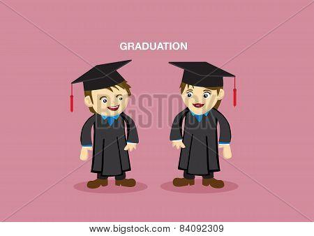 Cute Graduation Couple Mascot Vector Illustration