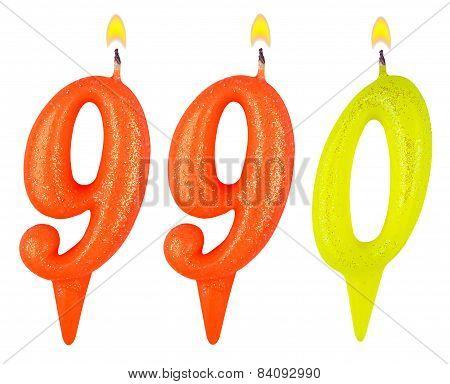 candles number nine hundred ninety isolated on white background poster