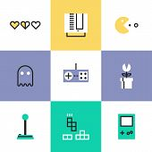 Flat line icons of popular retro gaming from 80s and 90s classic game play elements oldschool game controller for video console. Infographic icons set logo abstract design pictogram vector concept. poster