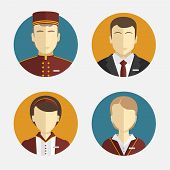 Avatars of people, a hotel staff, Reception, curtains, maid, and manager. poster