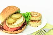 Vegan sea burger isolated on white background poster