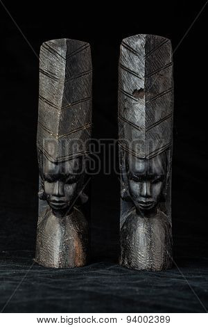 Wooden African Bookends