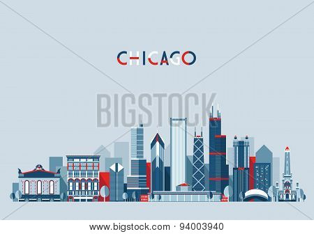 Chicago United States City Skyline Vector Trendy