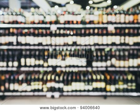 Blurred Wine Liquor Bottle On Shelf Bar shop retail