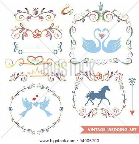 Cute retro floral set with wedding icons,doodle decor