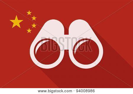 China Long Shadow Flag With A Binoculars