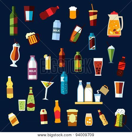 Beverages and drinks flat icons set