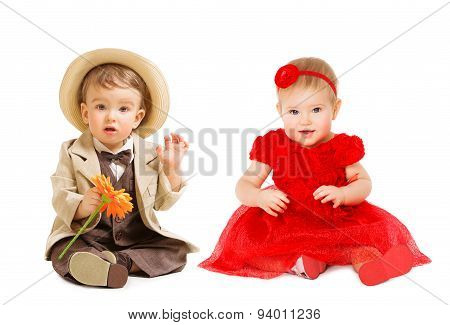 Babies Kids Well Dressed, Boy Suit Hat Girl Dress. Children Fashion Clothing, One Year Child