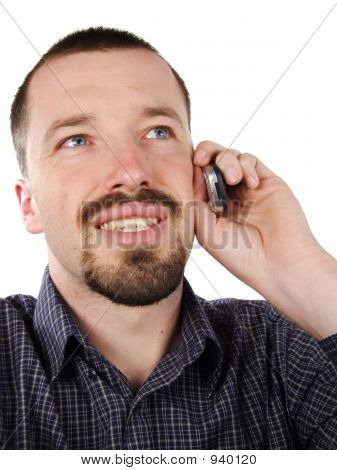 Happy Male Talking To Mobile Phone