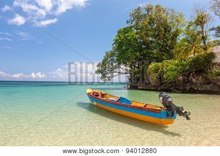 Fish boat on the paradise beach