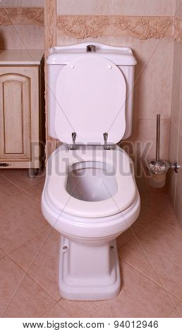A home flush toilet with toilet bowl poster