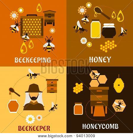 Honey concept with bees, beehives and honeycombs