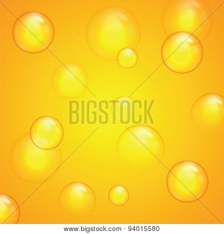 Transparent Bubbles On A Yellow Background