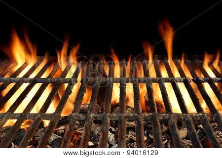 Bbq Grill With Flaming Charcoal Isolated On Black Background