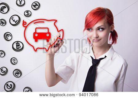 Red-haired girl piggy bank for coins save for a car banknotes of different countries should budget piercings on his face blue eyes earrings tunnels he wrote marker tie and white shirt. poster