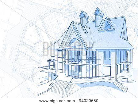 Architecture design blueprint vector photo bigstock architecture design blueprint house vector illustration malvernweather Choice Image