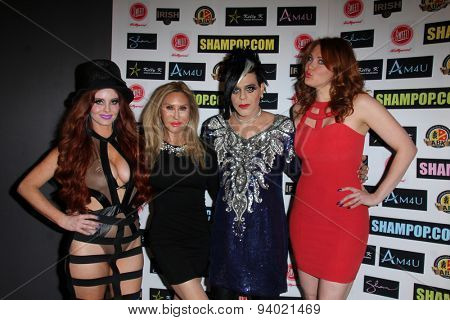 LOS ANGELES - JUN 4:  Phoebe Price, Tess Broussard, Sham Ibrahim, Maitland Ward at the Celebrity Selfies Art Show by Sham Ibrahim at the Sweet! Hollywood on June 4, 2015 in Los Angeles, CA