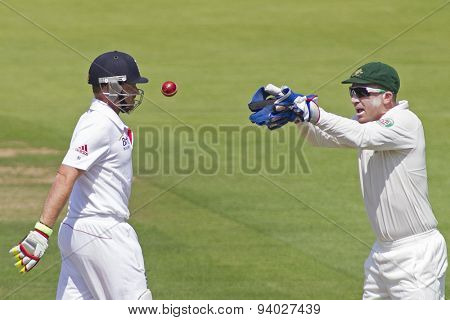 LONDON, ENGLAND - July 18 2013: Ian Bell and Brad Haddin on day one of the Investec Ashes 2nd test match, at Lords Cricket Ground on July 18, 2013 in London, England.