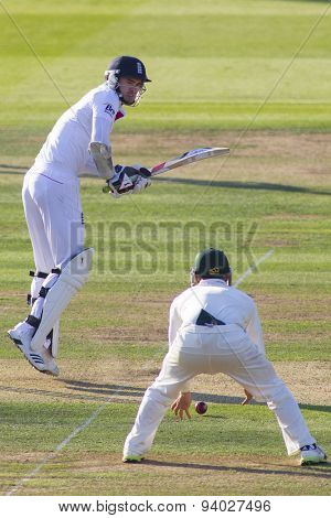 LONDON, ENGLAND - July 18 2013: James Anderson plays a shot on day one of the Investec Ashes 2nd test match, at Lords Cricket Ground on July 18, 2013 in London, England.