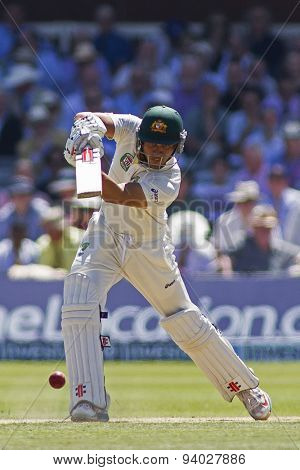 LONDON, ENGLAND - July 19 2013: Usman Khawaja plays a shot during day two of the Investec Ashes 2nd test match, at Lords Cricket Ground on July 19, 2013 in London, England.