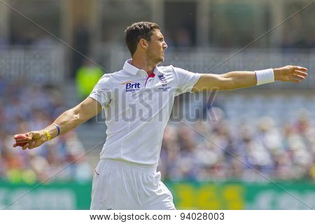 NOTTINGHAM, ENGLAND - July 14, 2013: Steven Finn during day five of the first Investec Ashes Test match at Trent Bridge Cricket Ground on July 14, 2013 in Nottingham, England.