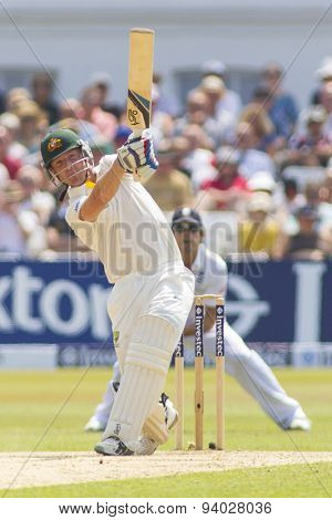 NOTTINGHAM, ENGLAND - July 14, 2013: Brad Haddin hits the ball during day five of the first Investec Ashes Test match at Trent Bridge Cricket Ground on July 14, 2013 in Nottingham, England.