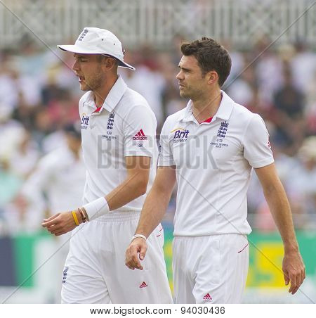 NOTTINGHAM, ENGLAND - July 14, 2013: Stuart Broad and James Anderson during day five of the first Investec Ashes Test match at Trent Bridge Cricket Ground on July 14, 2013 in Nottingham, England.
