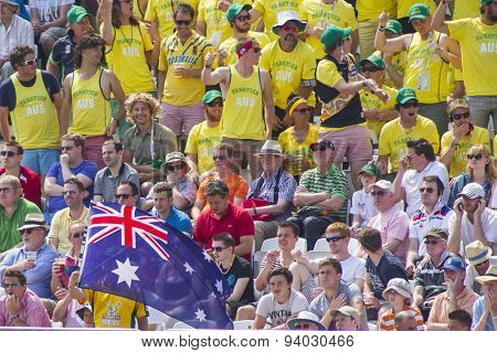 NOTTINGHAM, ENGLAND - July 14, 2013: Australian fans during day five of the first Investec Ashes Test match at Trent Bridge Cricket Ground on July 14, 2013 in Nottingham, England.