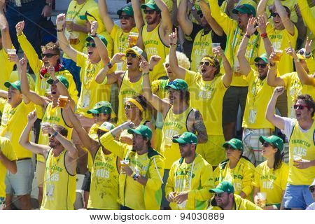 NOTTINGHAM, ENGLAND - July 11, 2013: The Fanatics cheer on Australia during day two of the first Investec Ashes Test match at Trent Bridge Cricket Ground on July 11, 2013 in Nottingham, England.