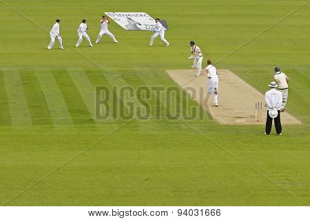 NOTTINGHAM, ENGLAND - July 10, 2013: A general view of the Australian slip fielders as Joe Root bats during day one of the first Investec Ashes Test match at Trent Bridge Cricket Ground